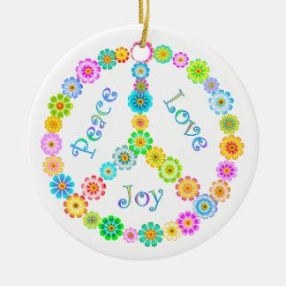 Peace Love Joy Round Ceramic Decoration