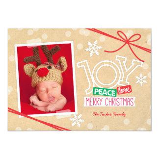 Peace Love JOY Scrapbook Christmas Photo Card