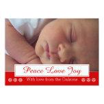 Peace Love Joy snowflake modern Christmas photo Custom Invite