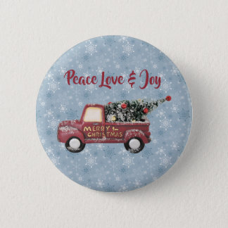 Peace Love & Joy Toy Truck Merry Christmas 6 Cm Round Badge