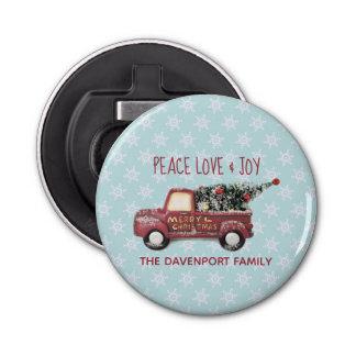 Peace Love & Joy Toy Truck Merry Christmas Bottle Opener