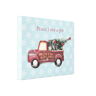 Peace Love & Joy Toy Truck Merry Christmas Canvas Print