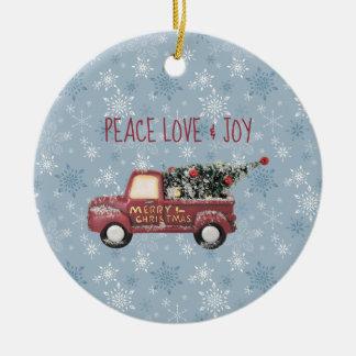 Peace Love & Joy Toy Truck Merry Christmas Ceramic Ornament