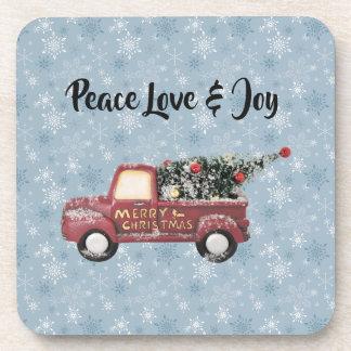 Peace Love & Joy Toy Truck Merry Christmas Coaster