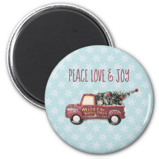 Peace Love & Joy Toy Truck Merry Christmas Magnet