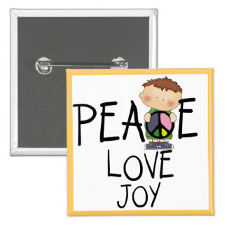 Peace Love Joy Tshirts and Gifts Pinback Buttons