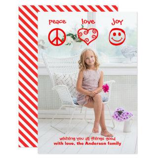 Peace, Love, Joy Vertical - 3x5 Christmas Card