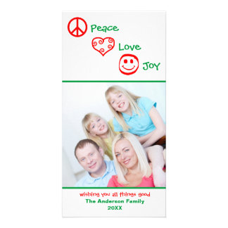Peace, Love, Joy Vertical - Photocard Personalised Photo Card