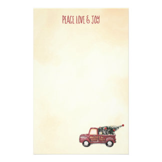 Peace Love & Joy w/ Red Toy Truck Merry Christmas Stationery