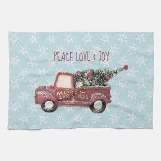 Peace Love & Joy w/ Red Toy Truck Merry Christmas Tea Towel