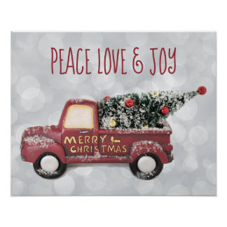 Peace Love & Joy w/ RedToy Truck Merry Christmas Poster