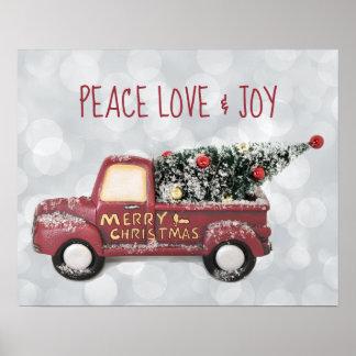 Peace Love & Joy w/ RedToy Truck Merry Christmas Poster