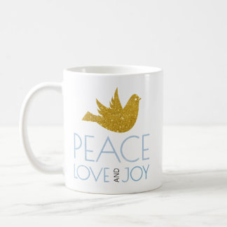 Peace, Love, Joy watercolor, gold dove Christmas Coffee Mug