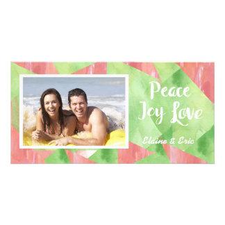 Peace Love Joy Watercolor Personalised Photo Card