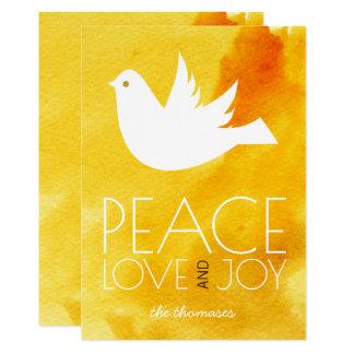 Peace love joy yellow watercolor & dove Christmas Card
