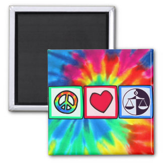 Peace, Love, Justice Square Magnet