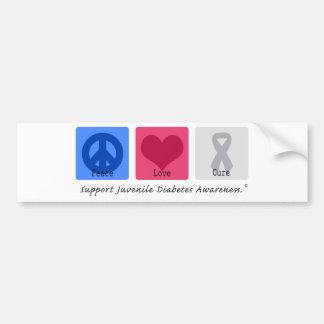 Peace Love Juvenile Diabetes Bumper Sticker