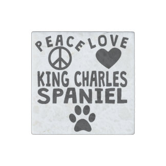 Peace Love King Charles Spaniel Stone Magnet