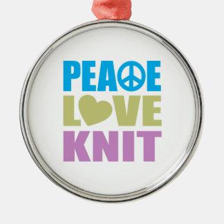 Peace Love Knit Metal Ornament