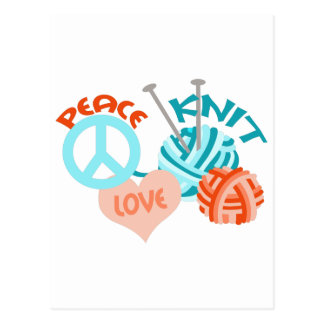 PEACE LOVE KNIT POSTCARD