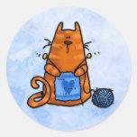 peace love knit round sticker