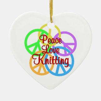 Peace Love Knitting Ceramic Ornament