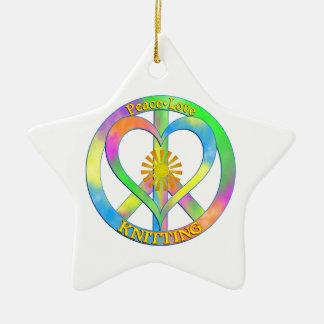 Peace Love Knitting Ceramic Star Decoration