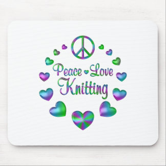 Peace Love Knitting Mouse Pad