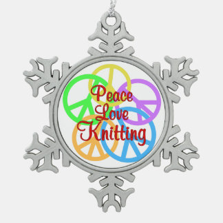 Peace Love Knitting Pewter Snowflake Decoration