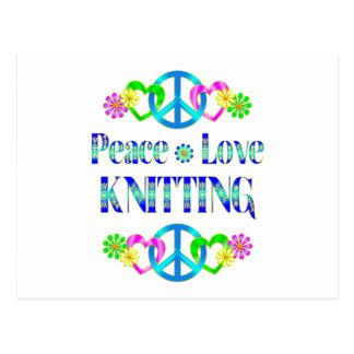 Peace Love Knitting Postcards