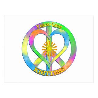 Peace Love Knitting Postcard