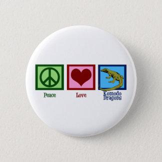 Peace Love Komodo Dragons 6 Cm Round Badge