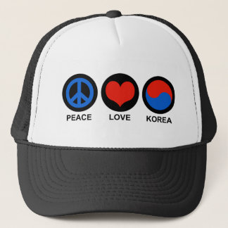 Peace Love Korea Trucker Hat