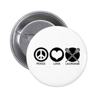 Peace Love Lacrosse 6 Cm Round Badge
