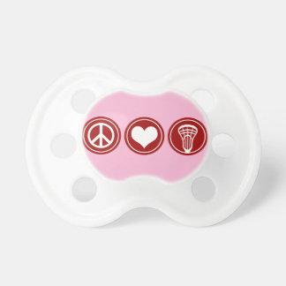 Peace Love Lacrosse Pacifier - Girl's Pink Color