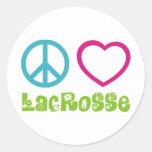 Peace Love Lacrosse Round Sticker