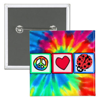 Peace, Love, Ladybugs Buttons