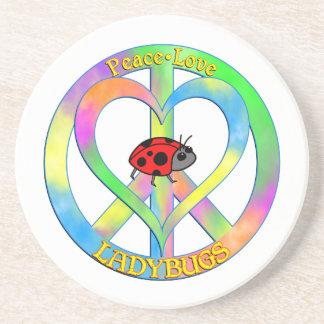 Peace Love Ladybugs Beverage Coasters
