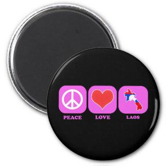 Peace Love Laos 6 Cm Round Magnet