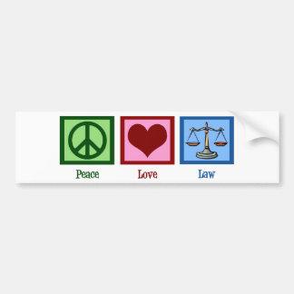 Peace Love Law Bumper Sticker