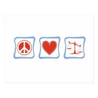 Peace Love Lawyers Squares Postcard