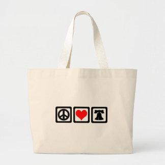 Peace love liberty large tote bag