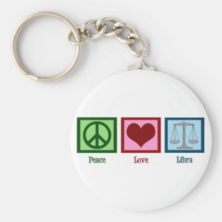 Peace Love Libra Basic Round Button Key Ring
