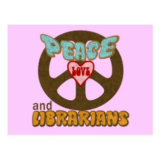 Peace Love Librarians Postcard