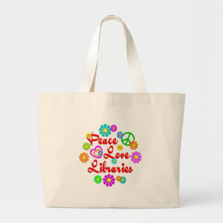 Peace Love Libraries Large Tote Bag