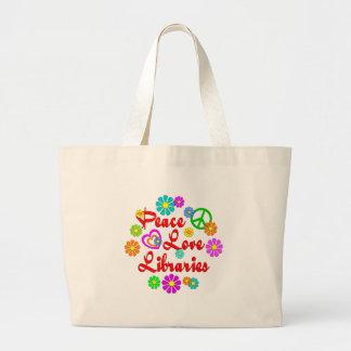 Peace Love Libraries Jumbo Tote Bag