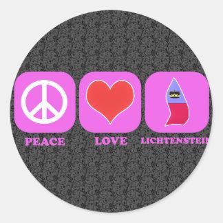 Peace Love Lichtenstein Classic Round Sticker