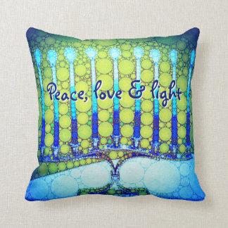 """""""Peace, Love & Light"""" Blue Hanukkah Menorah Photo Cushion"""