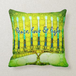 """Peace, Love & Light"" Green Hanukkah Menorah Photo Cushion"