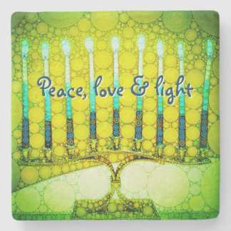 """Peace, Love & Light"" Green Hanukkah Menorah Photo Stone Coaster"